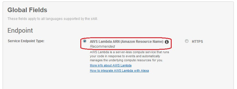 Figure 27. Amazon Developer Portal. Skill configuration. Connect VUI with code. Set endpoint type