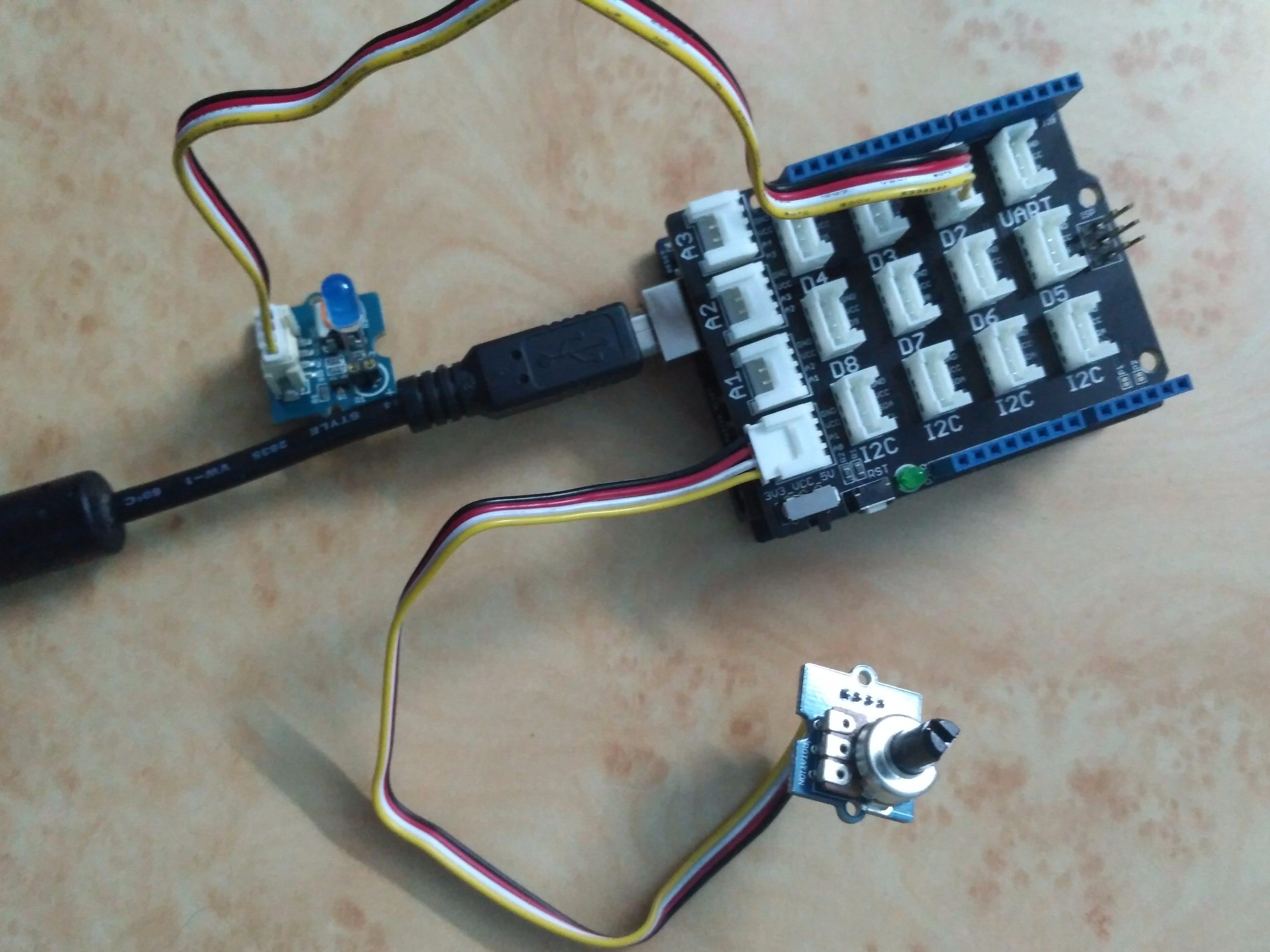 Using Grove-Rotary Angle Sensor(P) to Control Grove LED