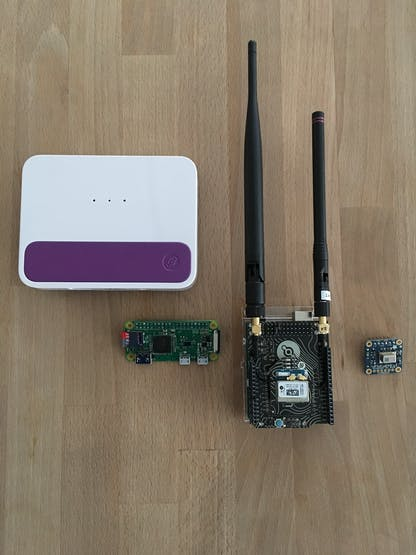 From left to right, the Helium Element, Pi Zero, Atom Prototyping Module, and the Grid-EYE