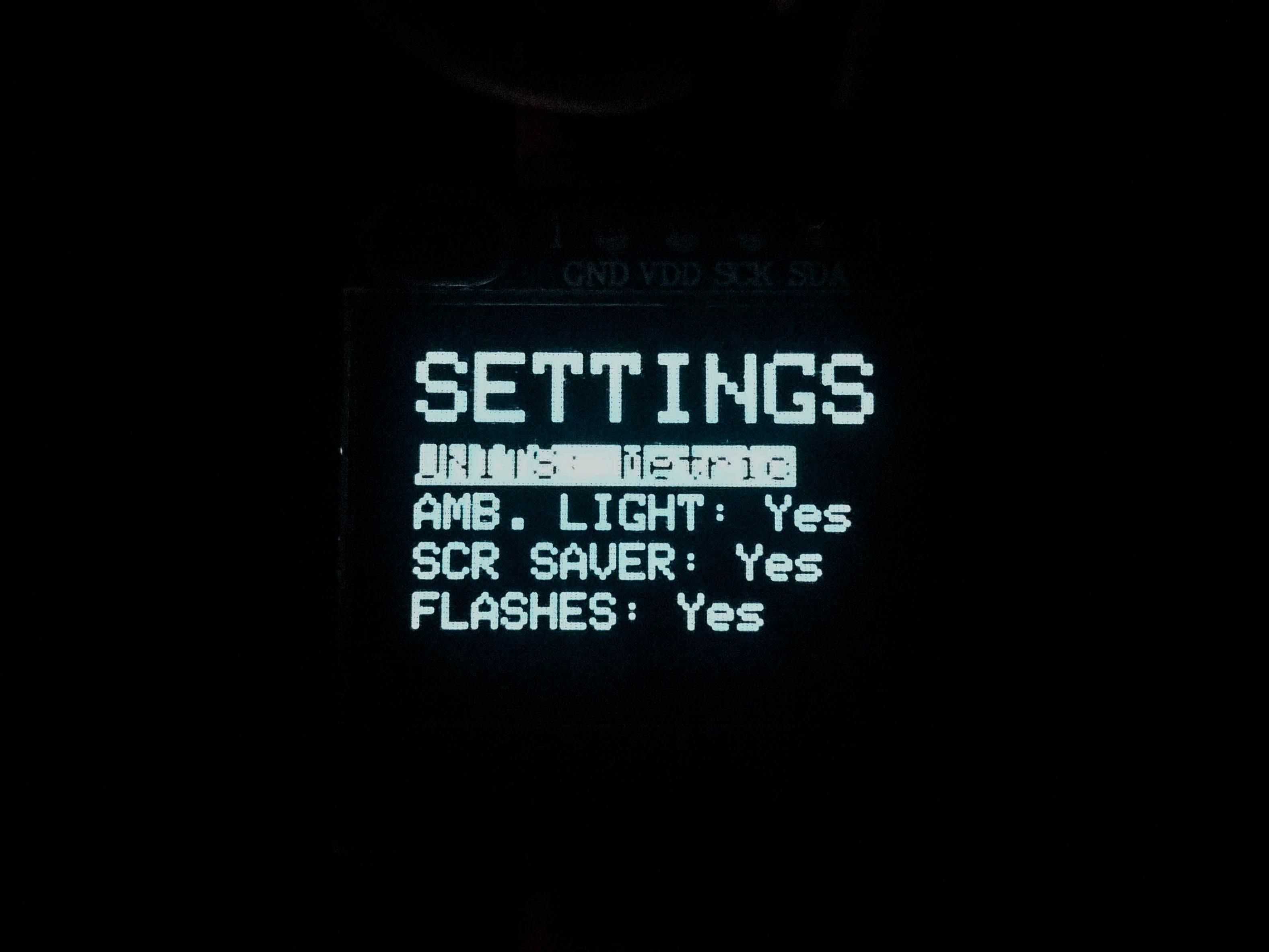 Settings display
