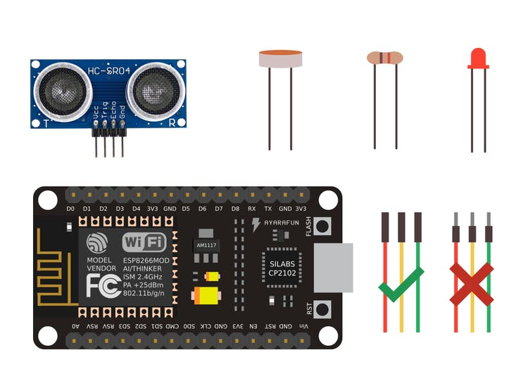 How to connect the Ultrasonic and LDR Sensors with NodeMcu - Hackster.io