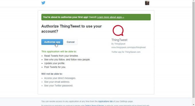 Authorize the ThingTweet app ...