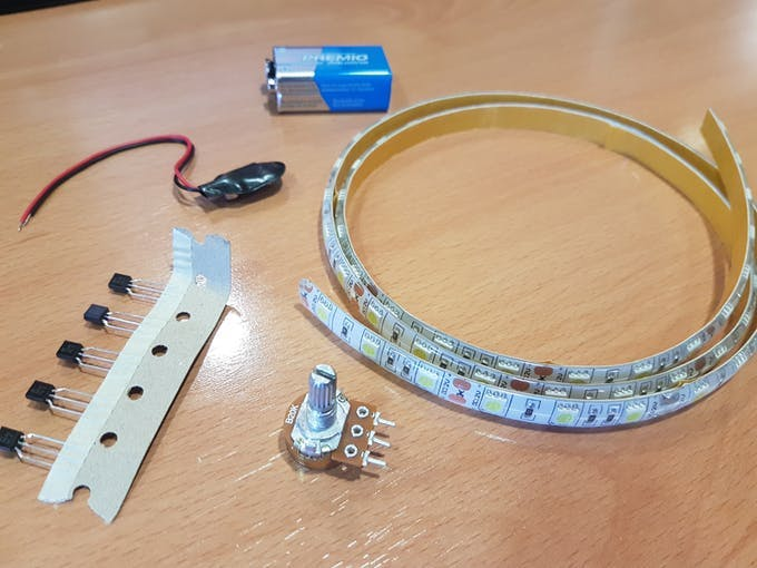 Parts to connect the LED strip to Arduino