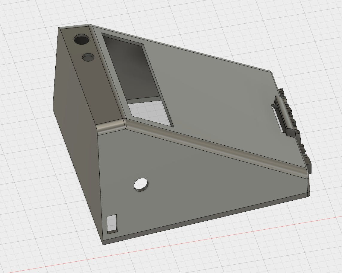 Holes for the LED strip, potentiometer, LEDs and LCD
