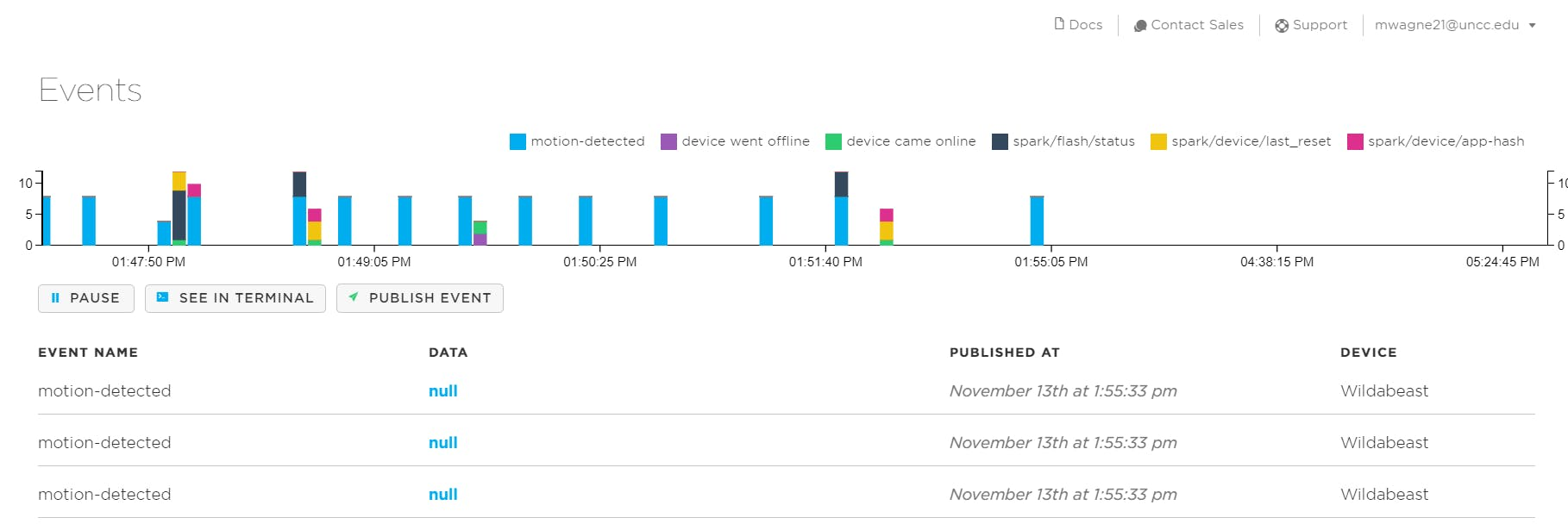 The above data displays multiple test runs of the project to show performance of the motion detector.