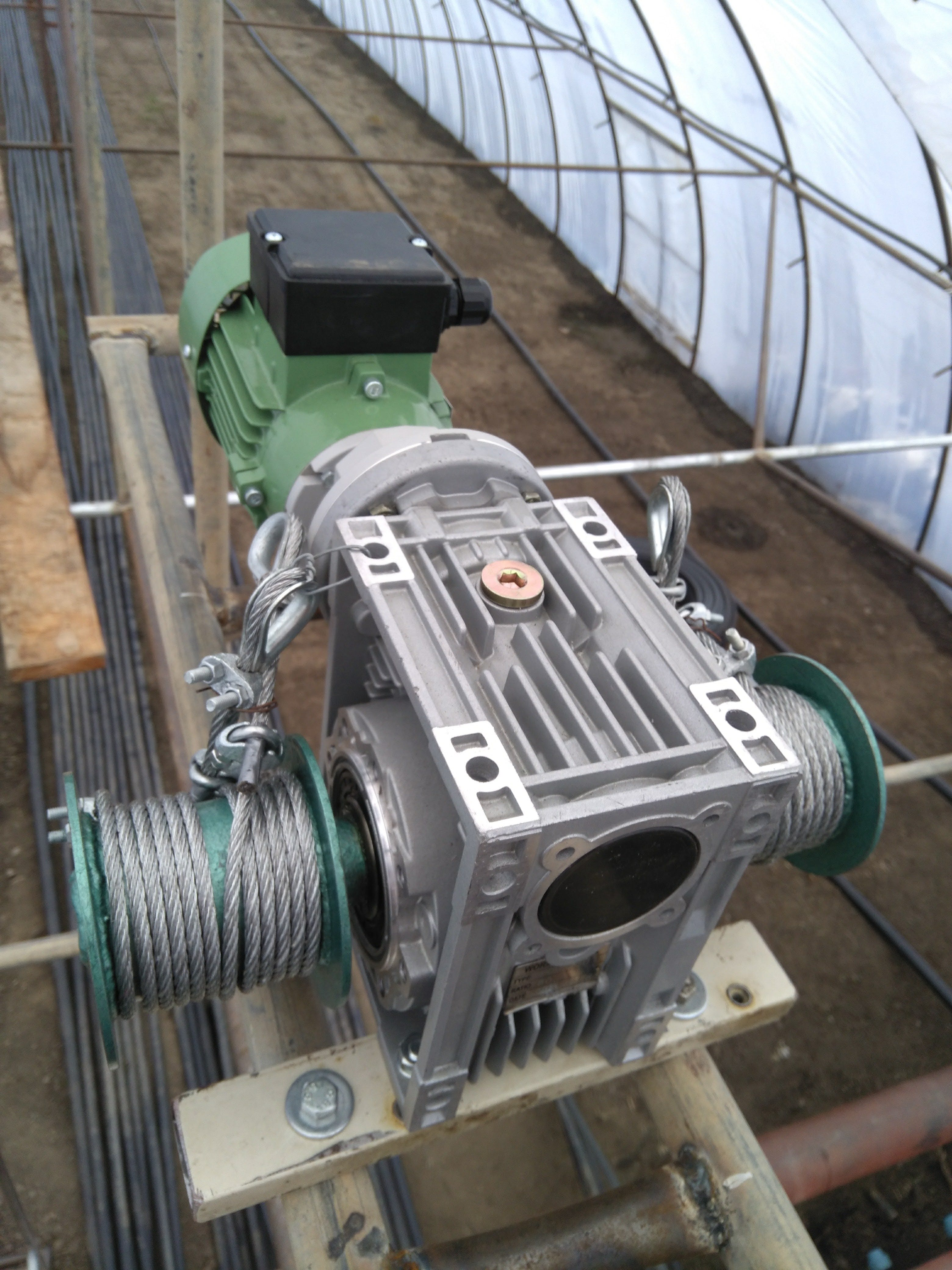 3-phase motor, worm gear unit with two drums