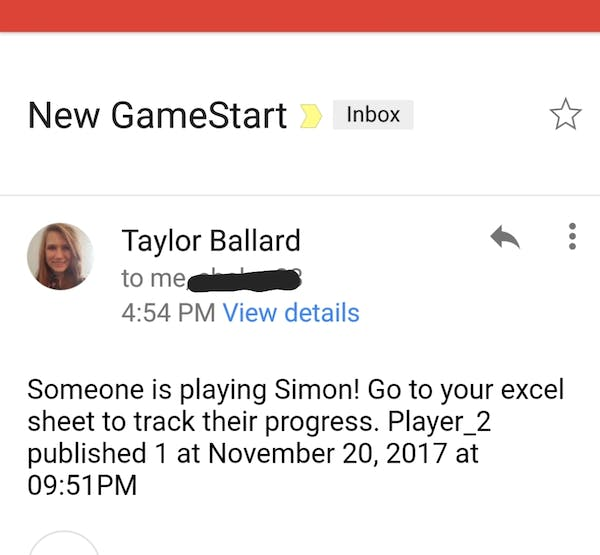 This is the email we have set up to send out every time a new game starts.