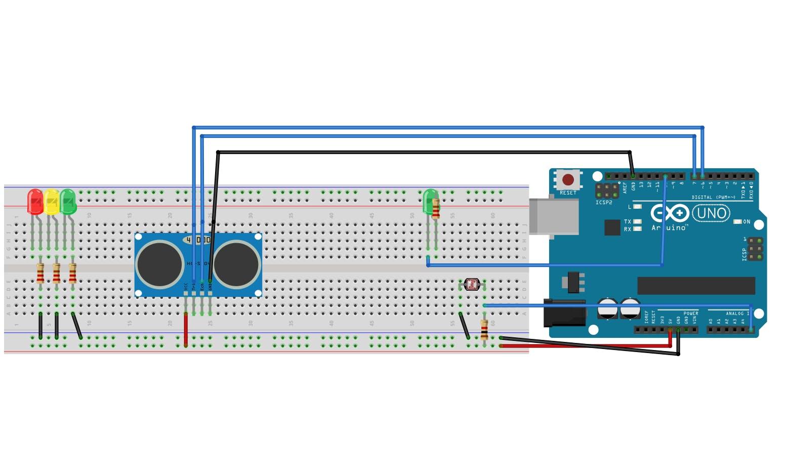 Sensor Ultrassônico e de luz