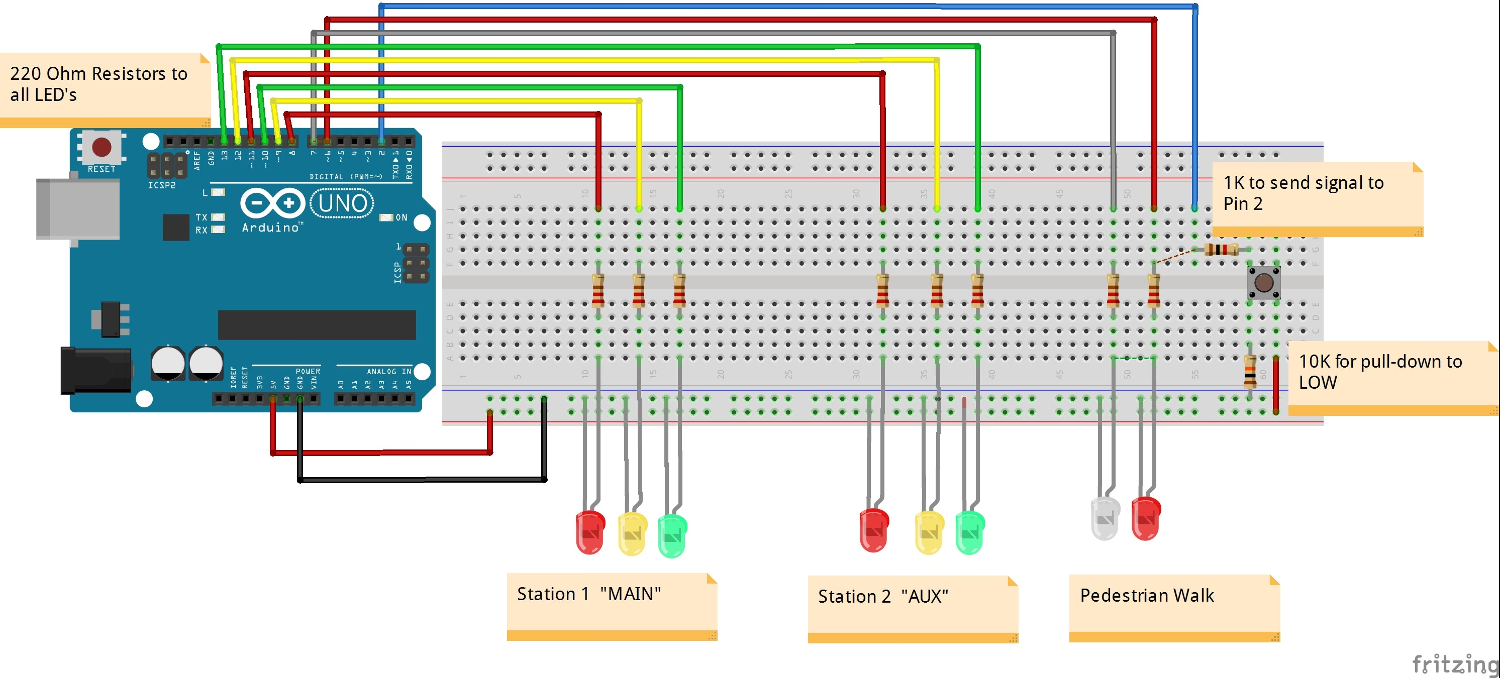 2 way intersection with pedestrian walk cycle hackster io rh hackster io 3-Way Electrical Switch Wiring Diagram 3-Way Switch Light Wiring Schematic
