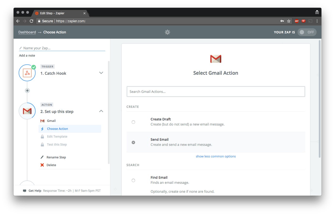 Select Gmail as the next action and check the Send Email