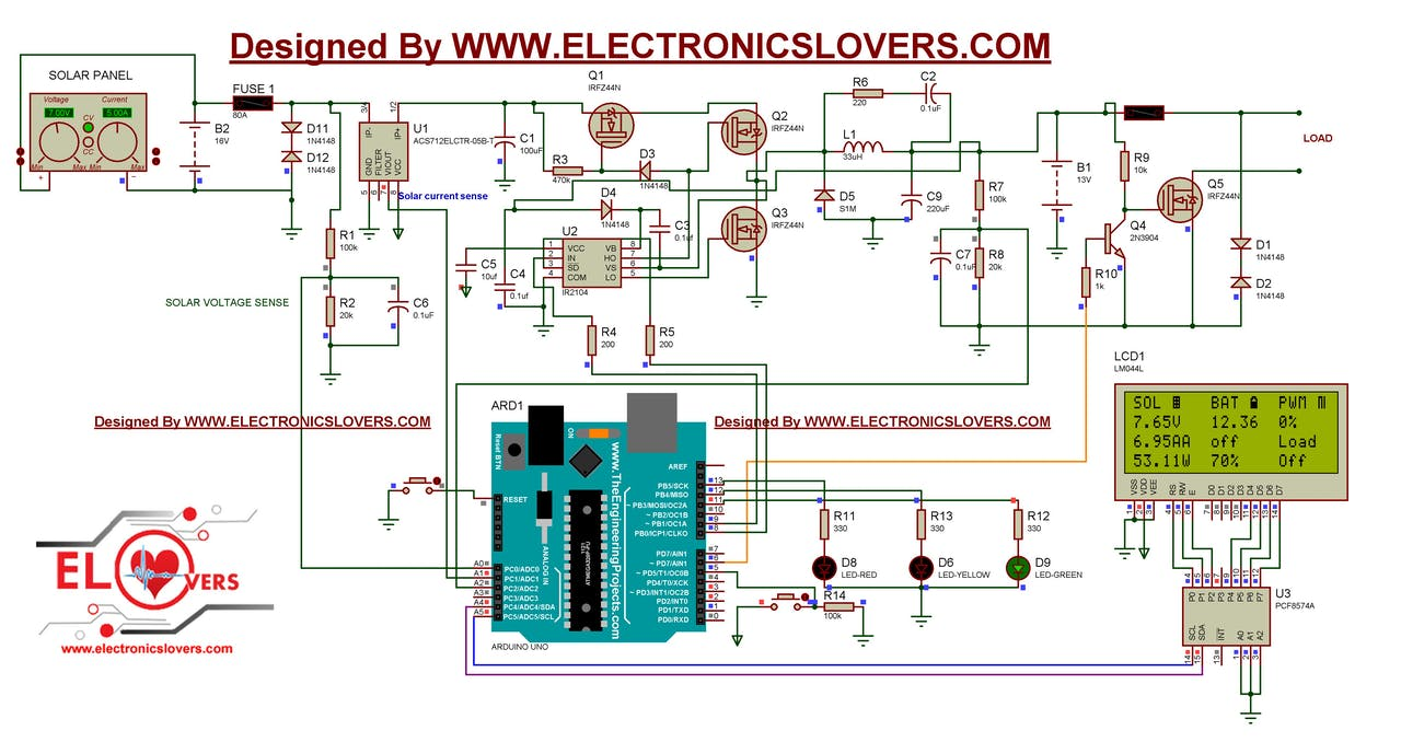 Home Made Arduino Based Mppt Charge Controller Led Solar Tracker Circuit Diagram