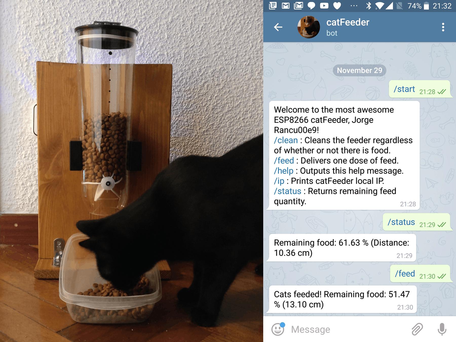 Cat Feeder With ESP8266, Arduino and Telegram
