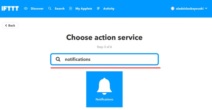 """Search for """"Notifications"""" Service"""