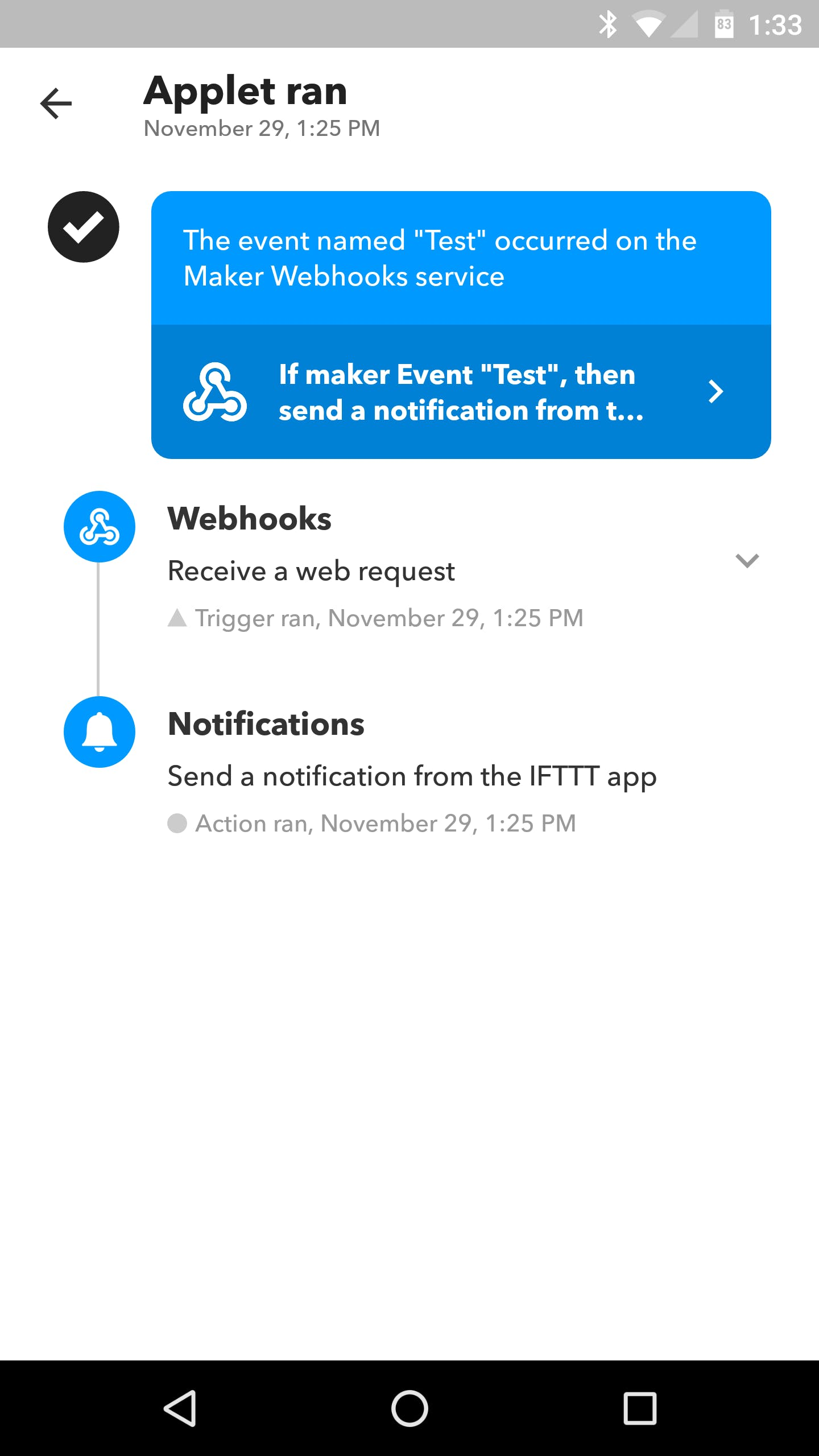 IFTTT Mobile App Notification: Detailed View