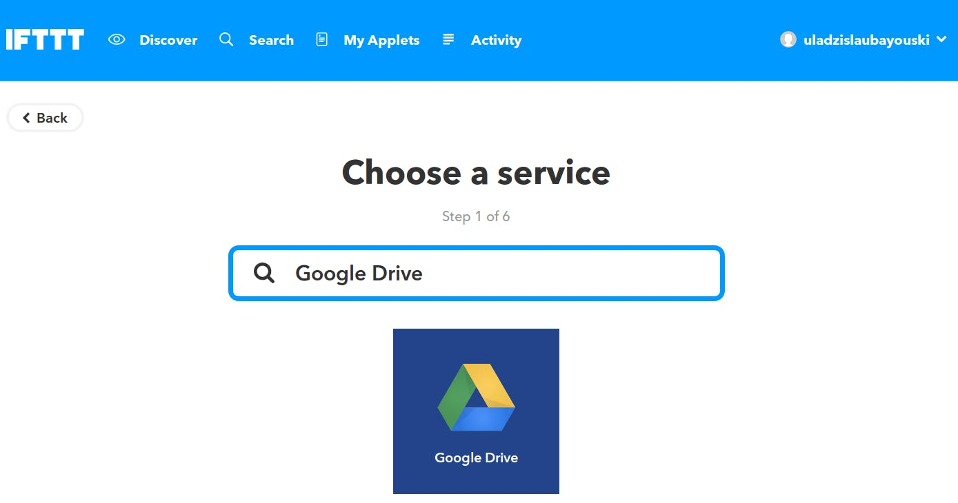"""Start """"New Applet"""" and Search for """"Google Drive"""""""