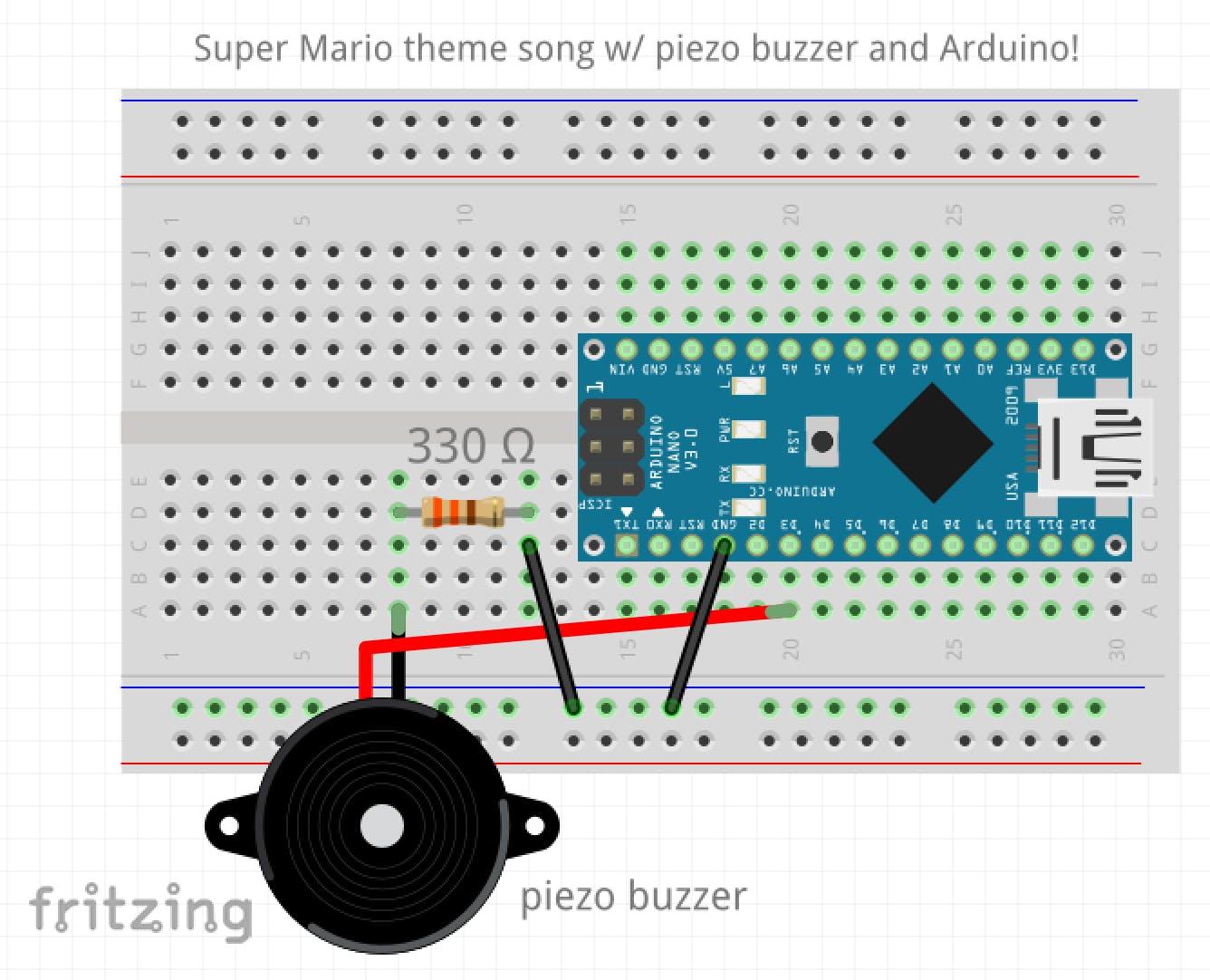 Fritzing schematics in order to connect the Arduino Nano/UNO to a piezo buzzer.