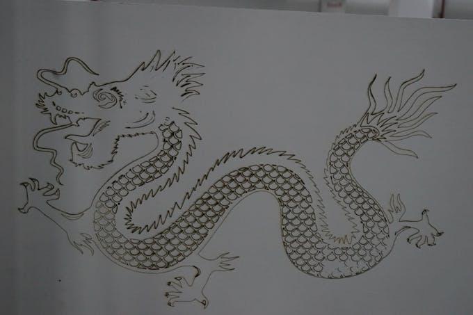 Laser Engraving of Chinese Dragon