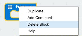 """If you want to get rid of a block you can simply select it and click """"delete."""""""