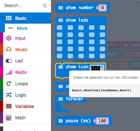 Select 'show icon' from the basic blocks.