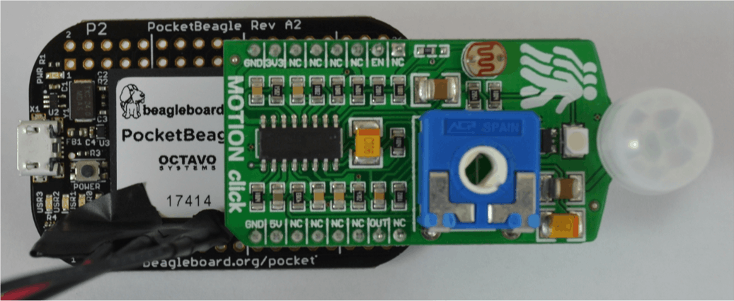 Motion Click Board attached to PocketBeagle