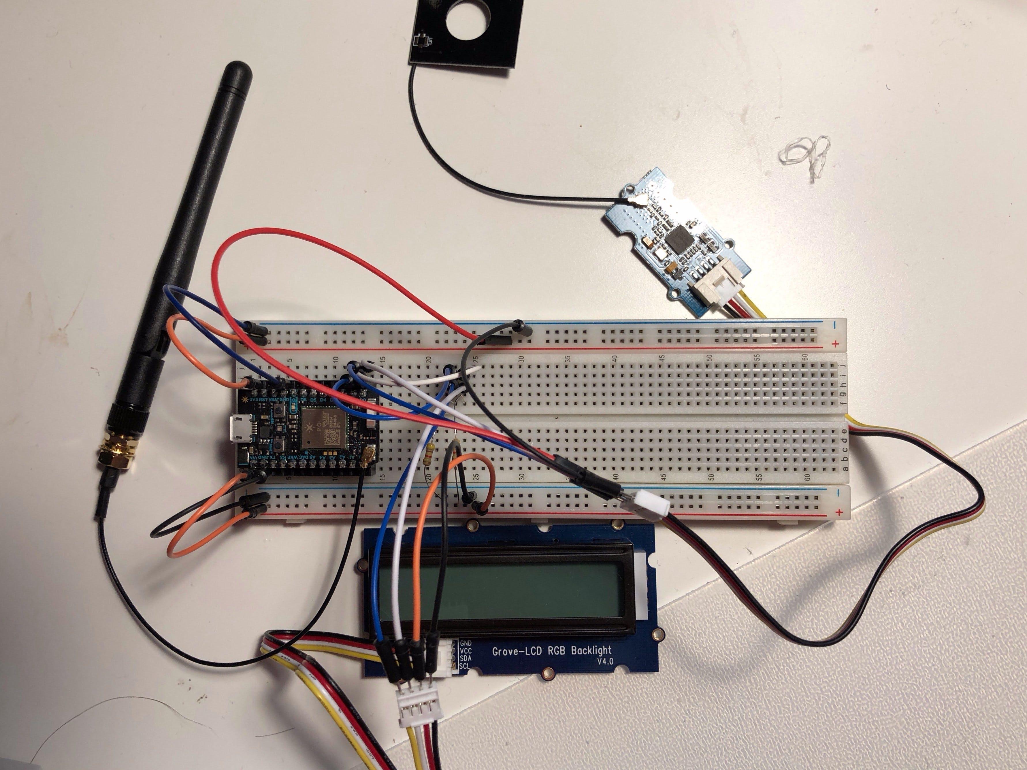 Particle Photon + Grove NFC + Grove LCD via I2C