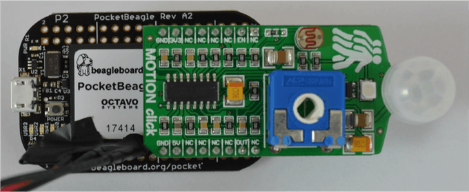 Motion Click Board attached to PocketBeagle