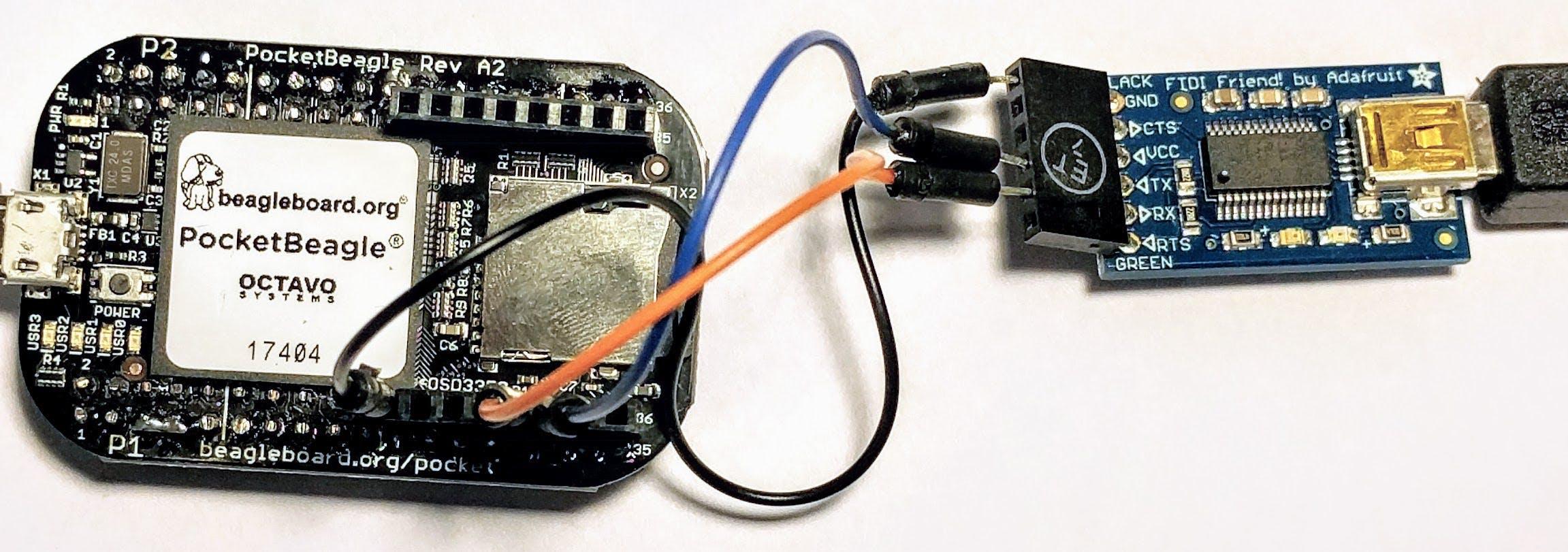 Accessing the PocketBeagle's serial console through an FTDI interface.