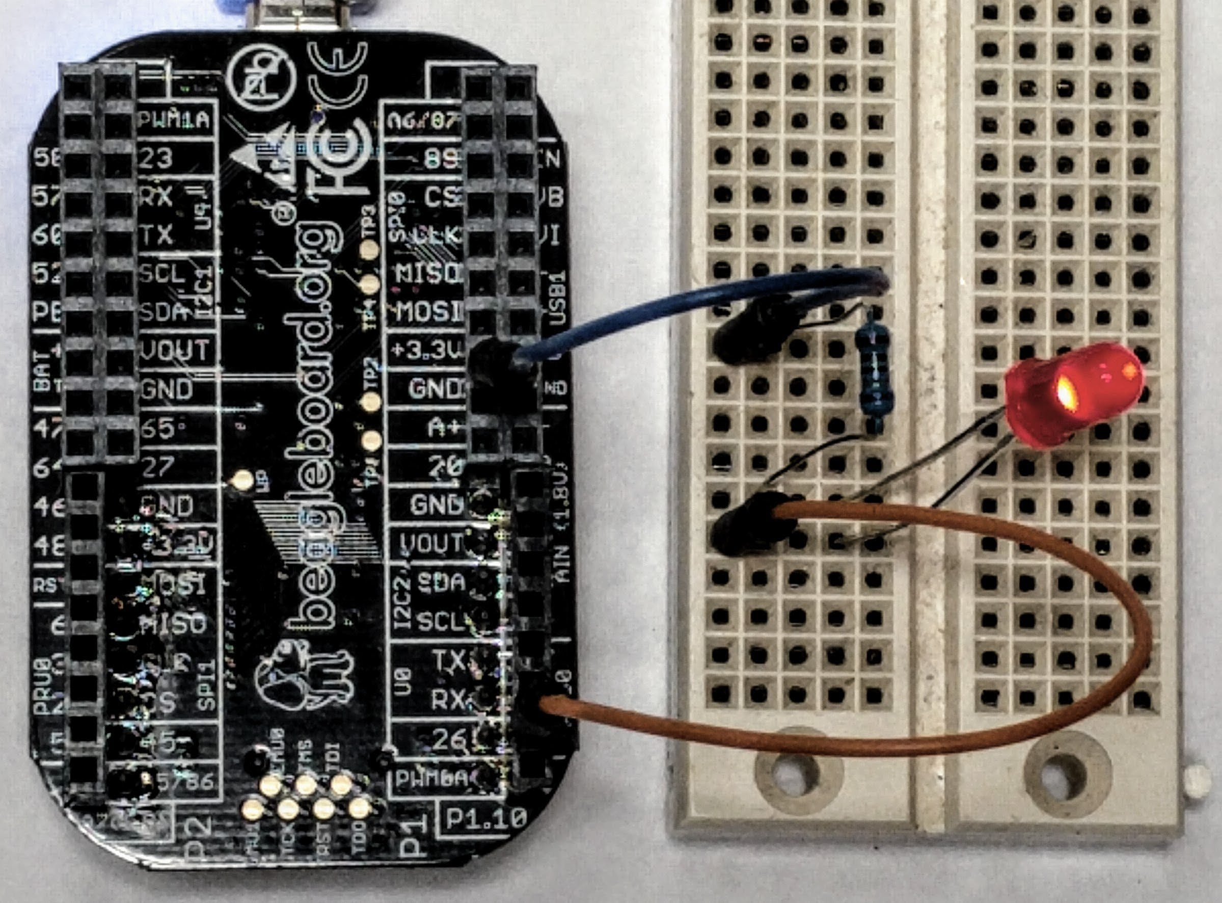 An LED connected to header P1 pin 33 can be controlled through GPIO 111.