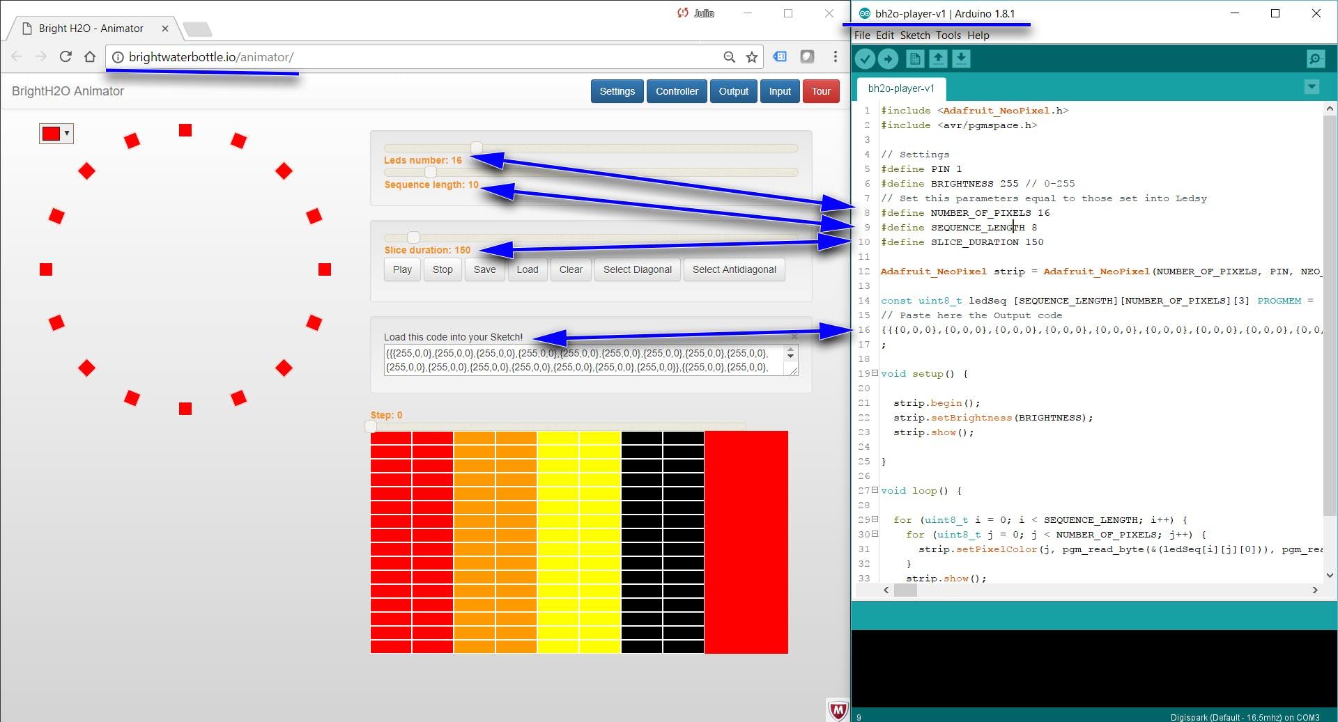 Animator App and Arduino Player sketch