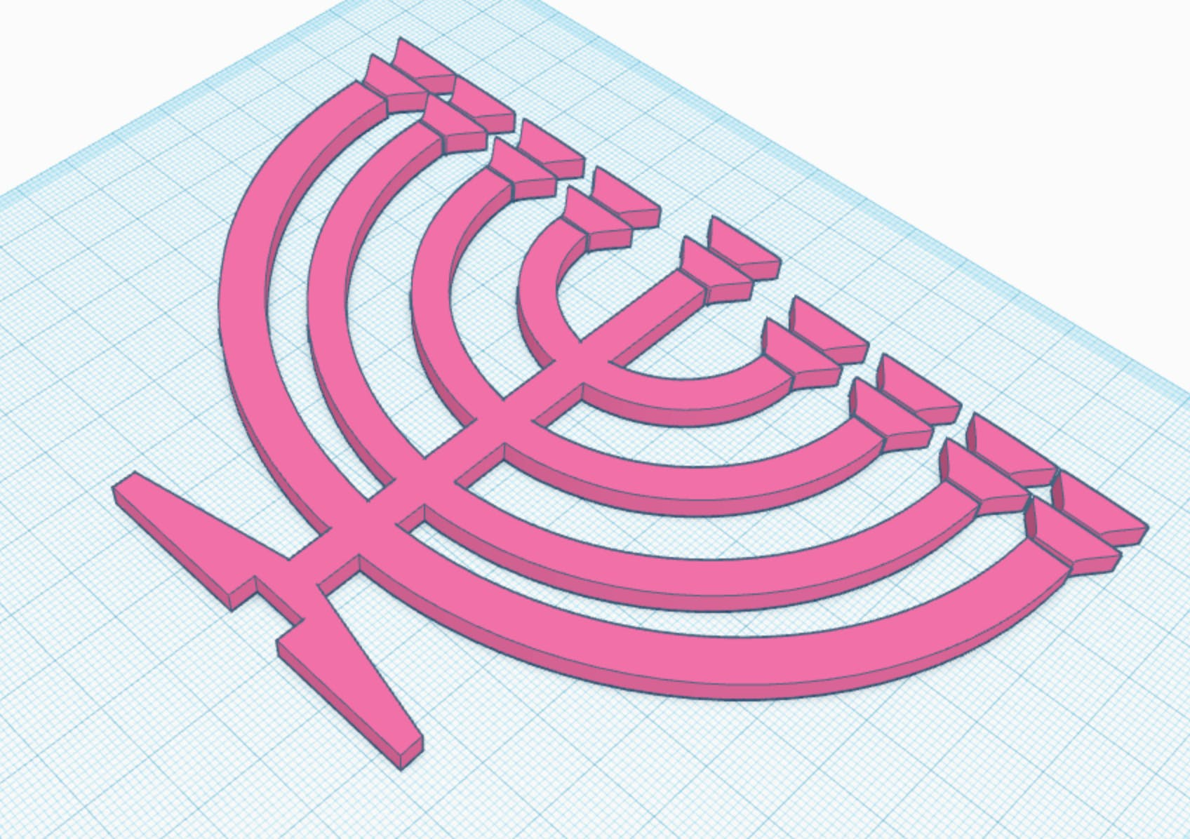 TinkerCAD Screenshot of the Hanukah menorah
