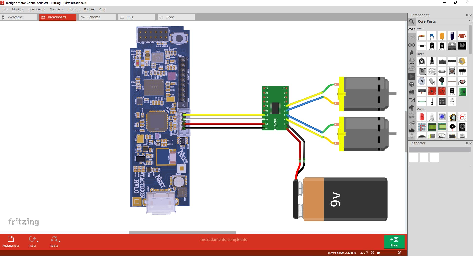 How to connect Serial motor control board to The Tactigon and motors