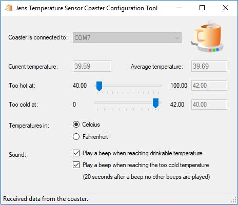 Jens Temperature Sensor Coaster Configuration Tool