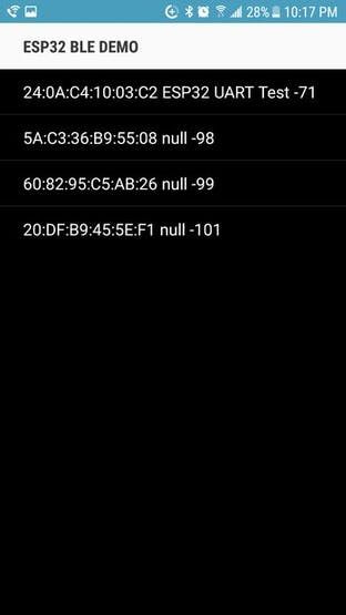 This is the list of nearby available Bluetooth devices