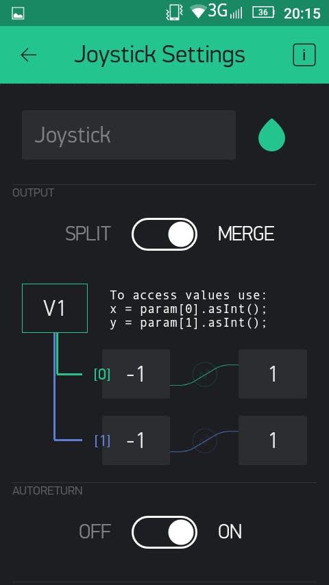 Joystick settings