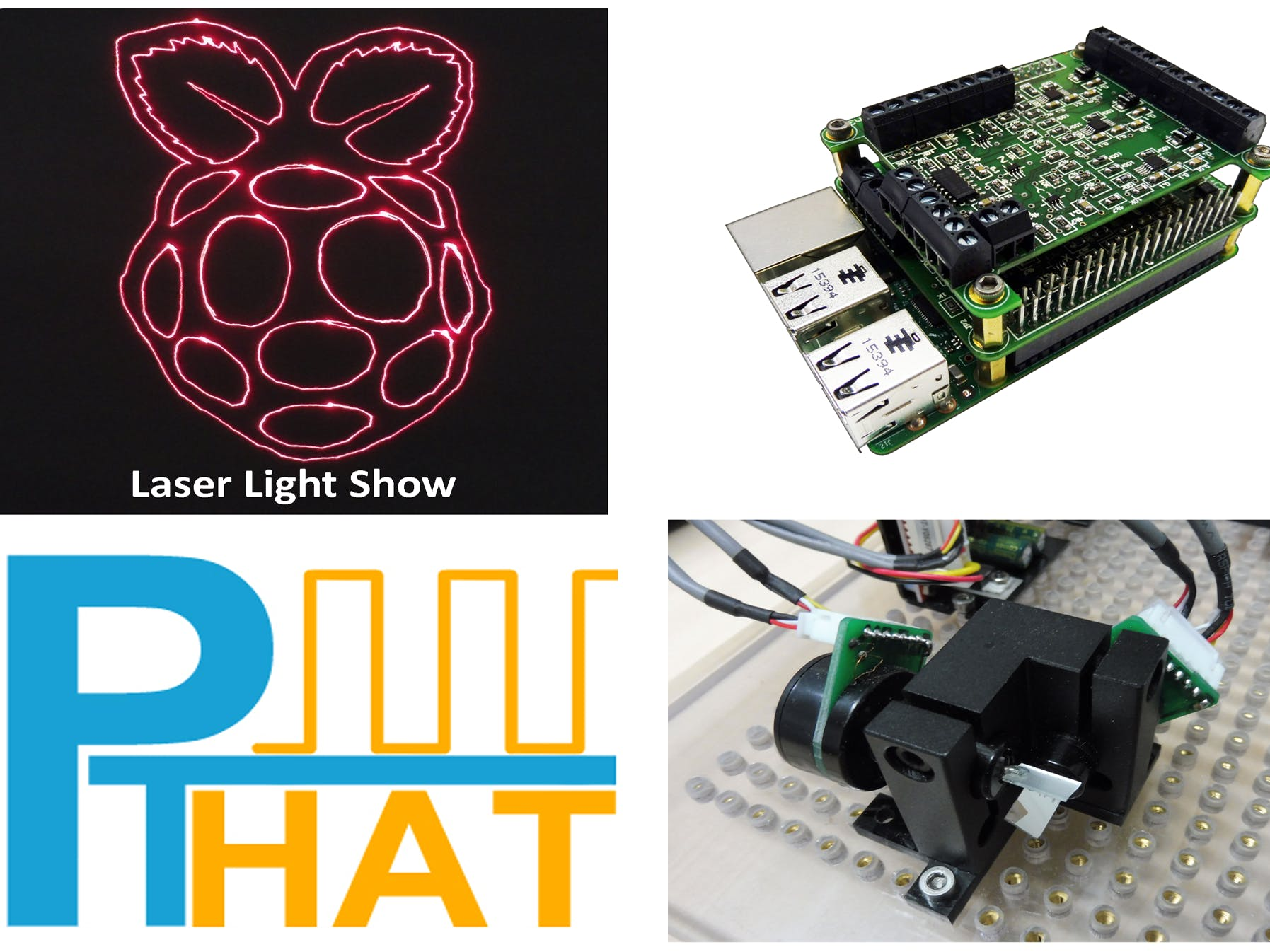 Pulse Train HAT Controlling Laser Light Show Raspberry Pi