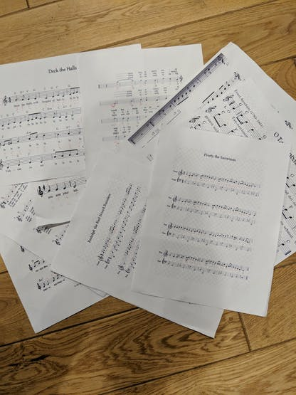 The sheet music with my handwritten notes in all their glory
