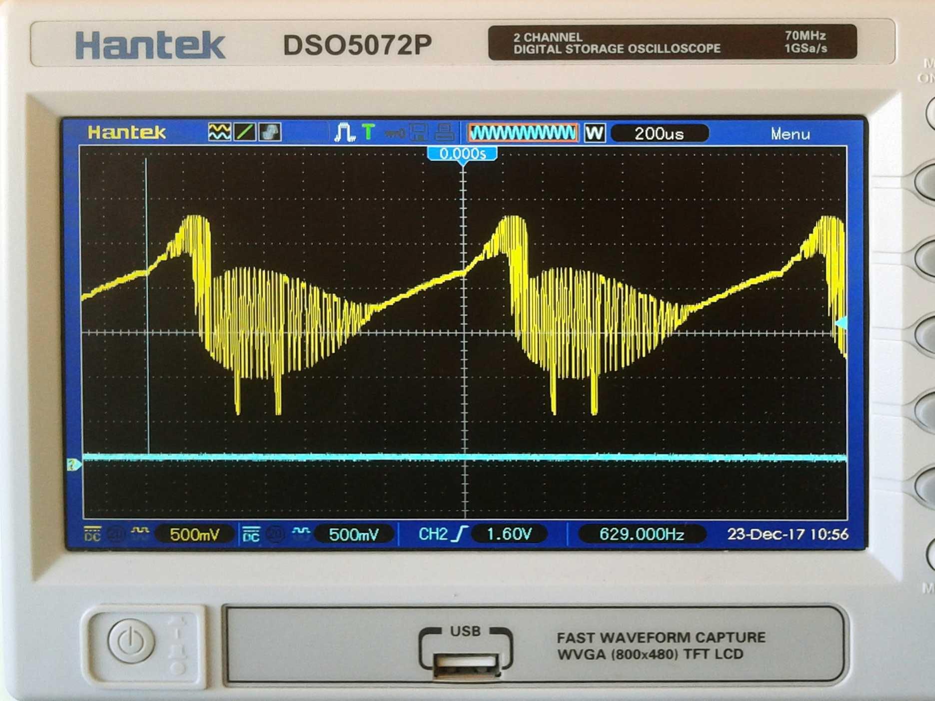 """Duck"" arbitrary wave, 0% duty cycle, sync on"