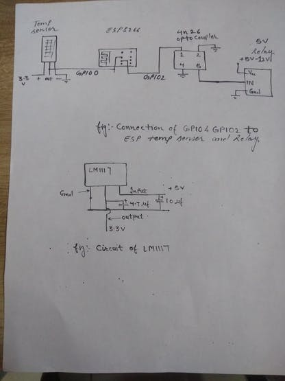 How to connect ESP8266 with DHT11 , Relay and connection of 3.3v Regulator