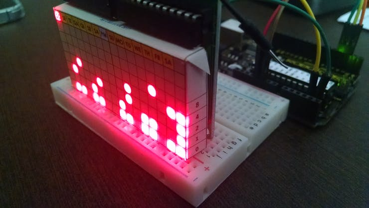 Binary Clock - Detail for Reading at Side of Paper Template