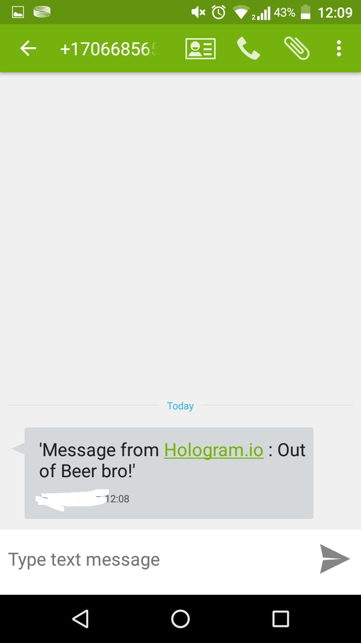 Message from Hologram.io SMS service
