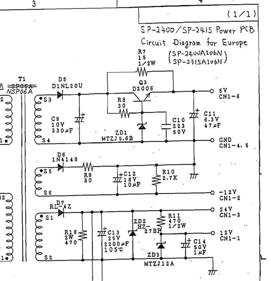 Power board outputs.