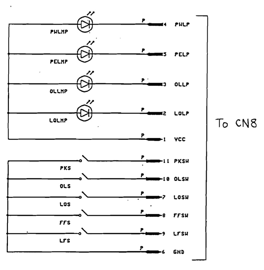 Connection scheme of the control panel of the printer.