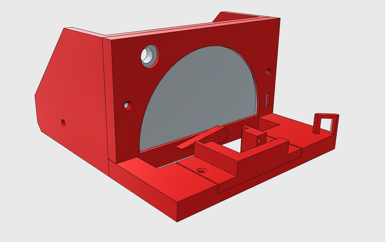 CAD for the device to move the servo's wiper and measure the PWM value