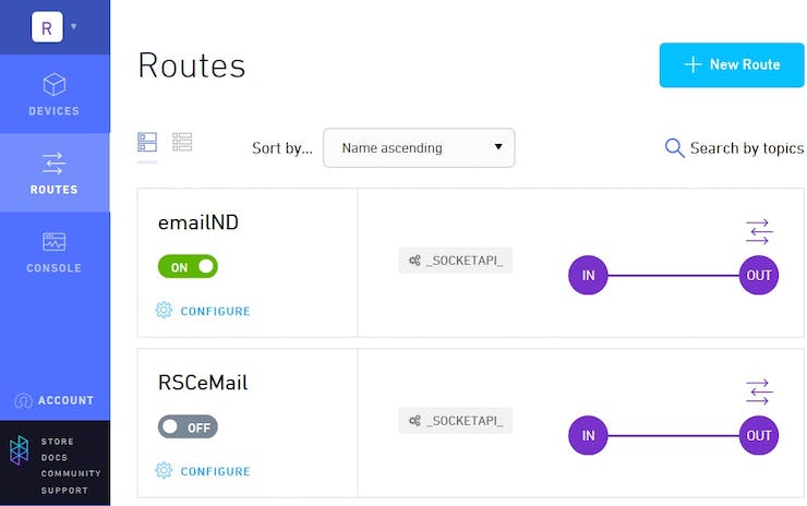 Forwarding messages using Routes