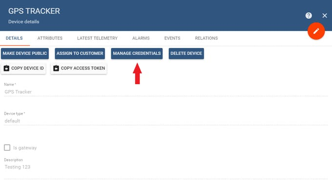 """Click """"Manage Credentials"""" to view your device's access token"""