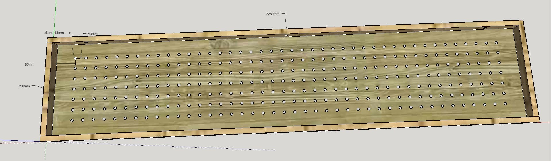 SketchUp model of the rear of the finished product