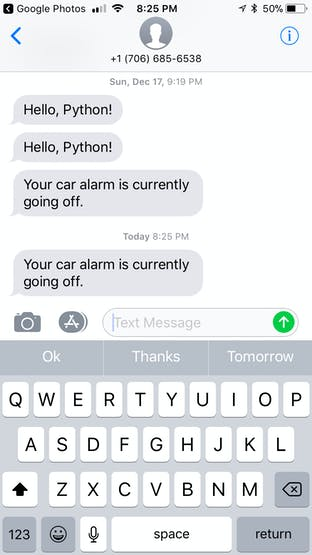Text showing that the car alarm is going off