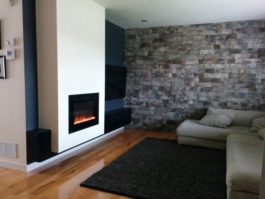 The fireplace installed