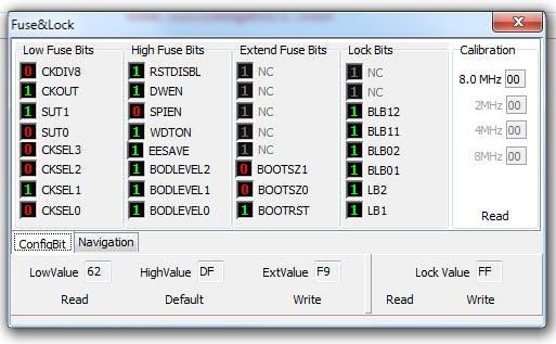 Fuse configuration for ATmeag168P