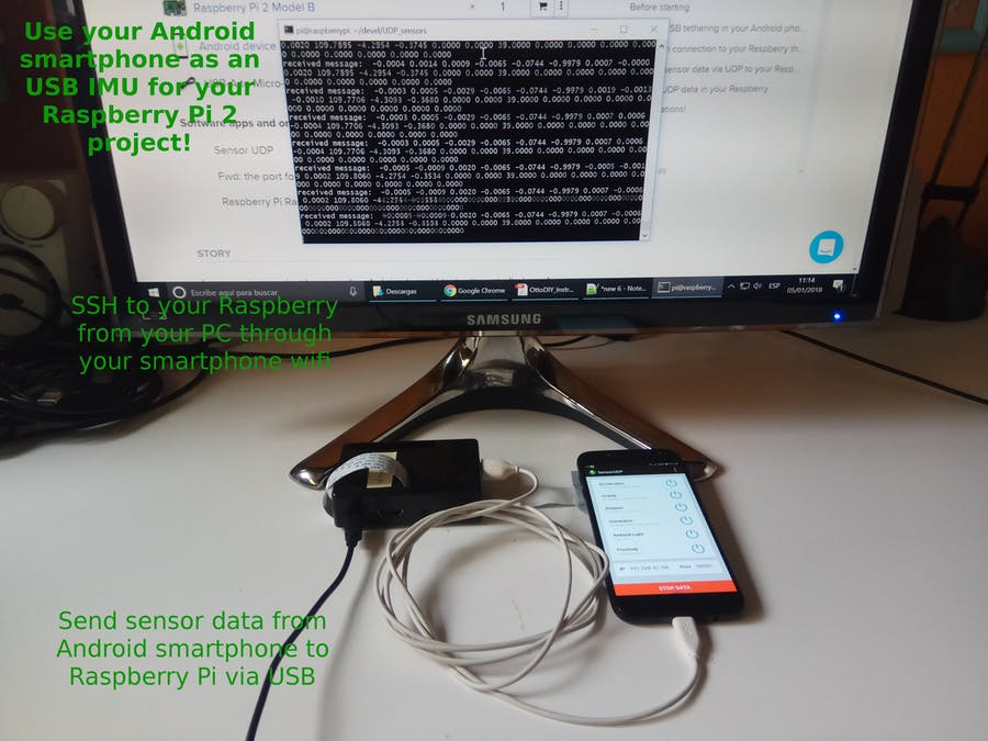 Android Sensors as IMU for Raspberry Pi 2 via USB and UDP